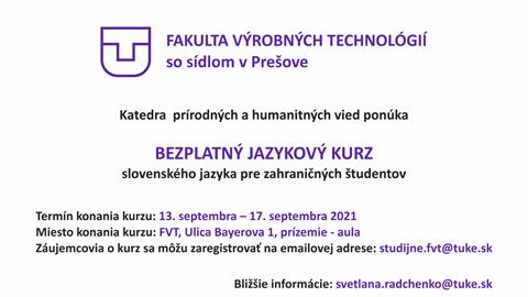 BEZPLATNÝ JAZYKOVÝ KURZ slovenského jazyka pre zahraničných študentov