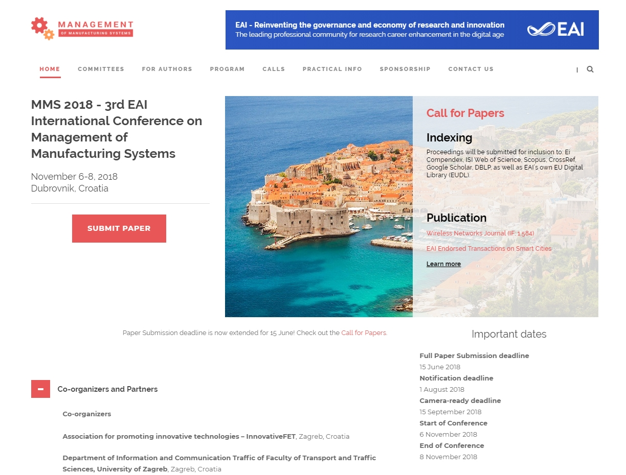 MMS 2018 - 3rd EAI International Conference on Management of Manufacturing Systems