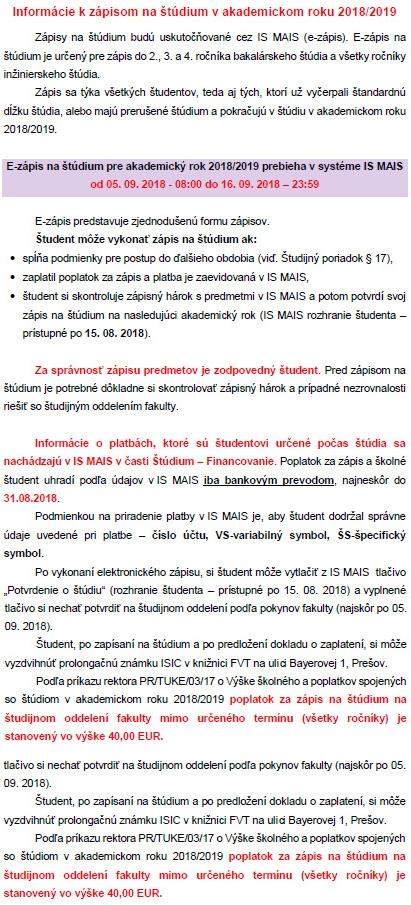 Informácie k zápisom na štúdium v akademickom roku 2018/2019