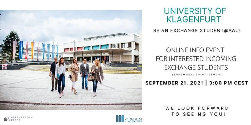 "Pozvánka na online event ""Exchange@AAU"" University of Klagenfurt, Austria, pre študentov FVT TUKE!!!!"